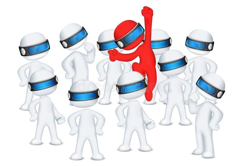 Salto vermelho do homem 3d põr da multidão ilustração stock