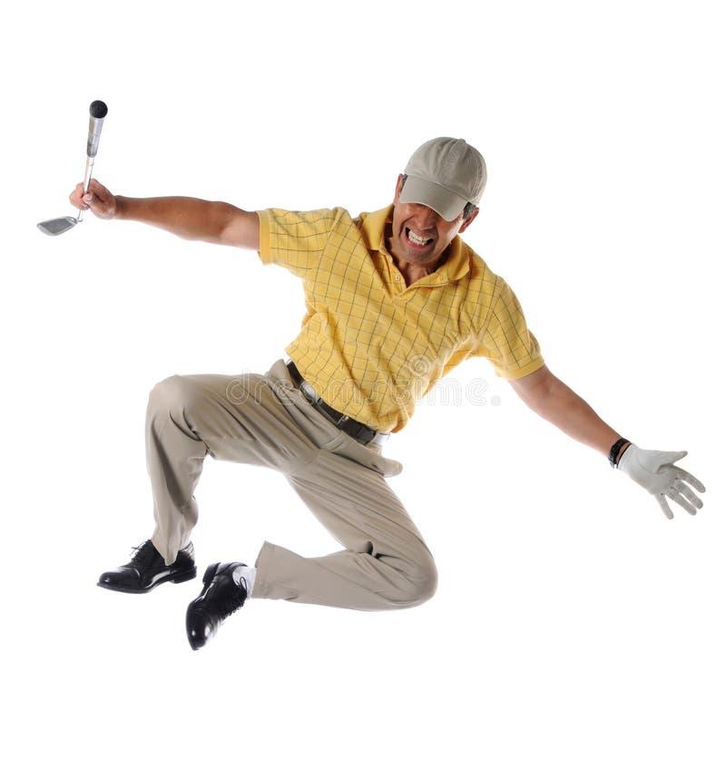 Saltos de clique do jogador de golfe imagem de stock