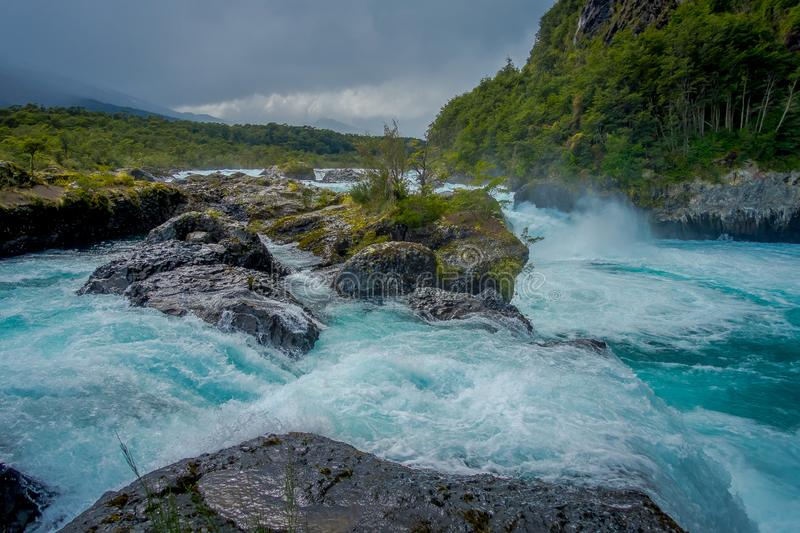 Saltos de Petrohue. Waterfalls in the south of Chile, formed by volcanic action.  royalty free stock images
