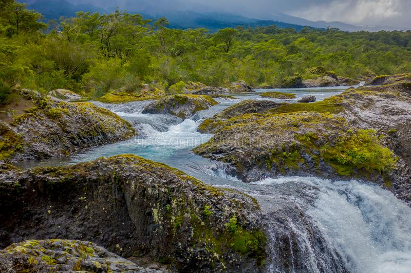 Saltos de Petrohue. Waterfalls in the south of Chile, formed by volcanic action.  royalty free stock photography