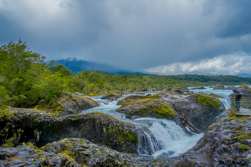 Saltos de Petrohue. Waterfalls in the south of Chile, formed by volcanic action.  stock image