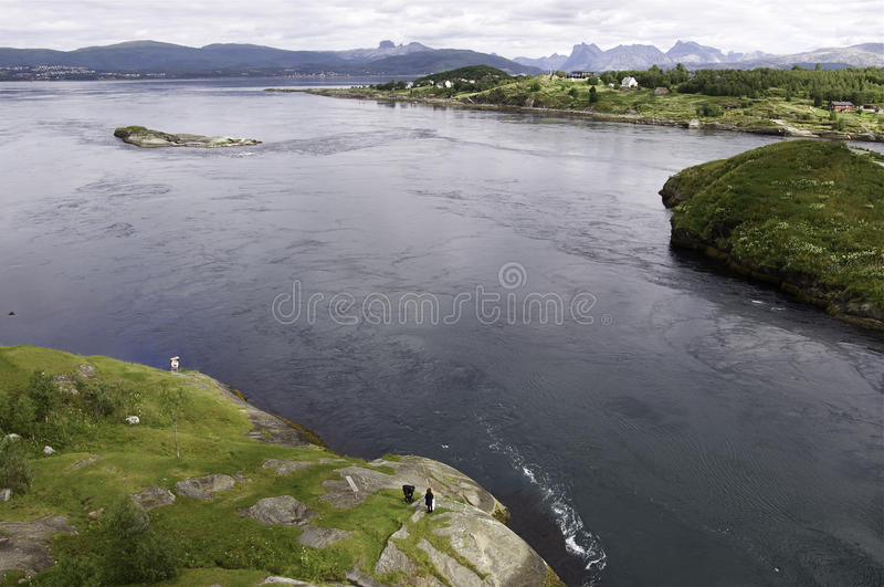 Saltstraumen. Tidal stream in the north of Norway royalty free stock images