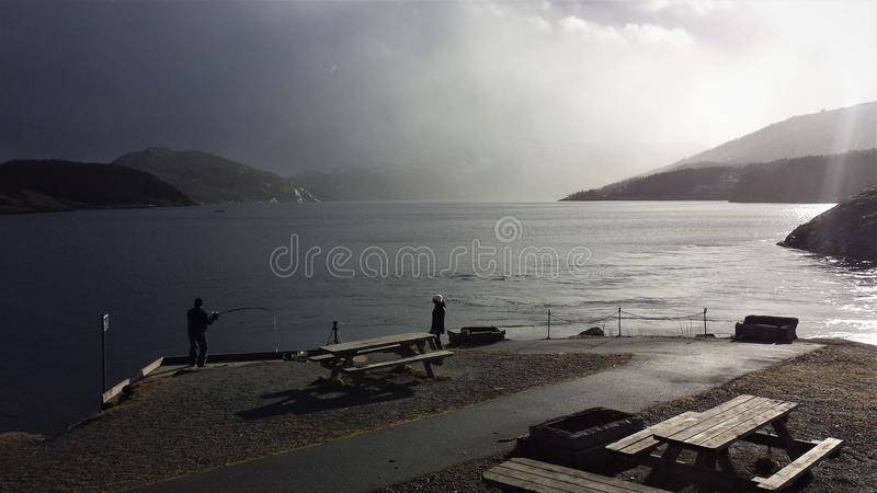 Saltstraumen view. Saltstraumen tidal stream view, the most dramatic view in winter royalty free stock photos