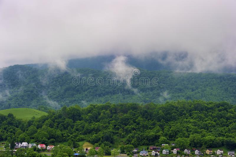 Saltville Virginia Overlook View under cloudy skies. View of Saltville, Virginia under cloudy skies, from Saltville Overlook on a misty day royalty free stock image