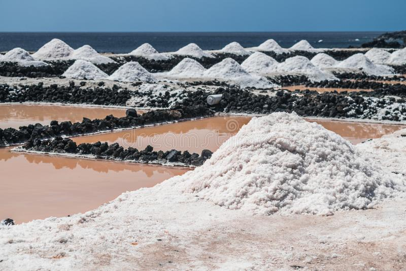 Saltworks de Fuencaliente, La Palma, Ilhas Canárias fotos de stock royalty free