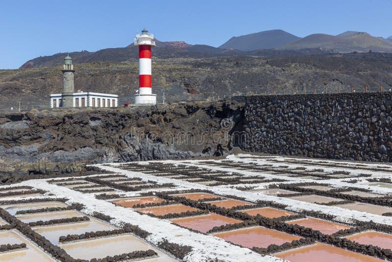 Saltworks de Fuencaliente no La Palma, Ilhas Canárias foto de stock