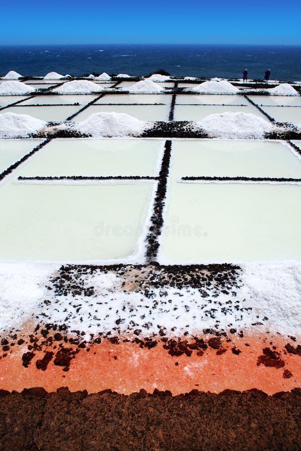 Saltworks de Palma Salinas de fuencaliente do La foto de stock