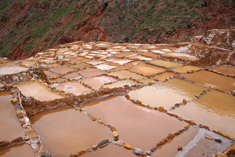 Saltworks in Maras, Peru royalty free stock photo