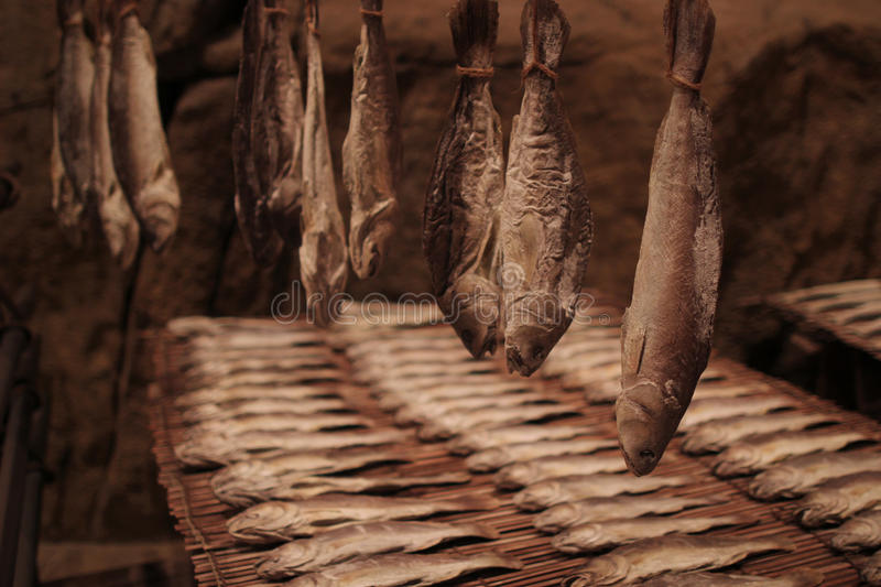 Salty dry river fish on a wooden impressive stock photography