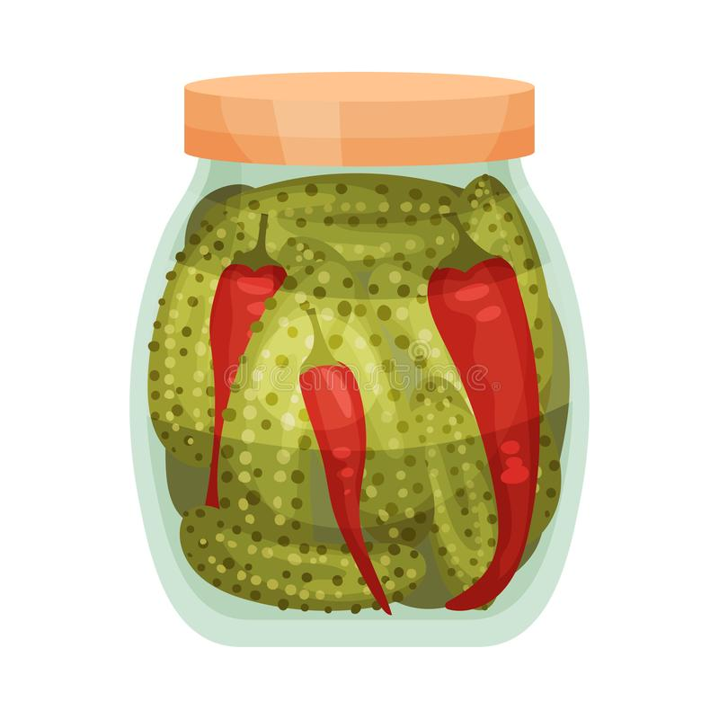 Salty pepper and cucumber. Vector illustration on white background. Salty spicy red peppers and cucumbers in a glass jar. Vector illustration on white royalty free illustration