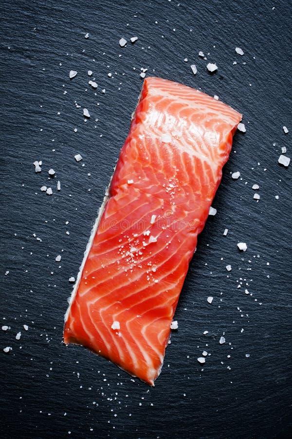 Salty salmon and sea salt, top view royalty free stock photos