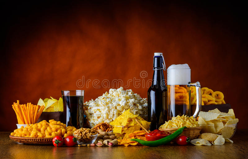 Salty Snacks and Drinks stock photography