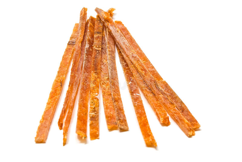 Salty strips of smoked fish royalty free stock photo