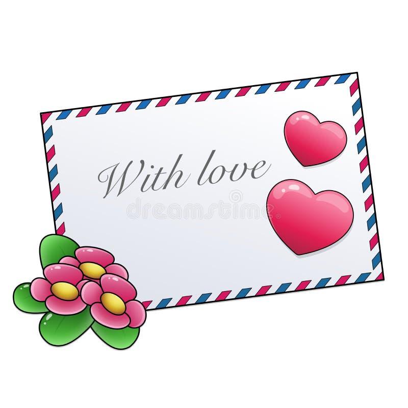 Saluant la lettre avec des fleurs et des coeurs d'isolement sur le fond blanc Jour du `s de Valentine Anniversaire photos stock