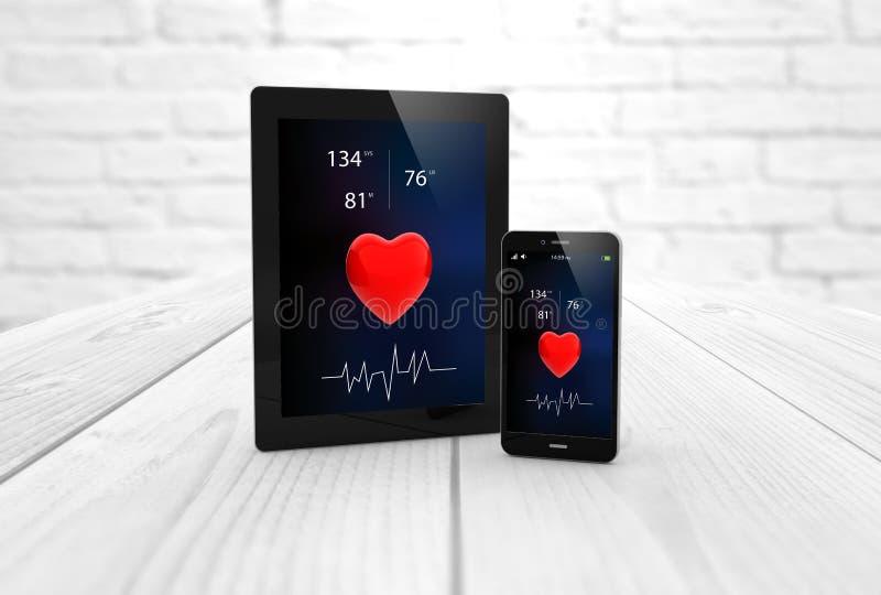 Salud app de la tableta y del smartphone stock de ilustración