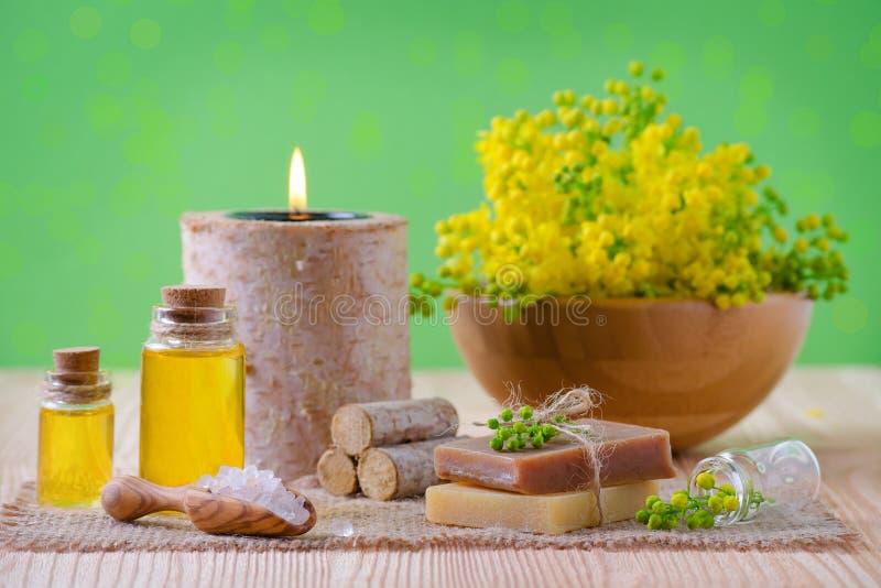 Salud, balneario y aromatherapy con los aceites esenciales, plantas frescas, vela, jabón, sal en el fondo verde, selectivo fotos de archivo
