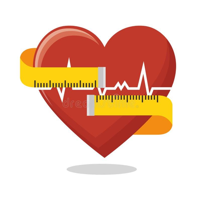 Salud de la aptitud de la cinta de la medida del ritmo cardíaco libre illustration