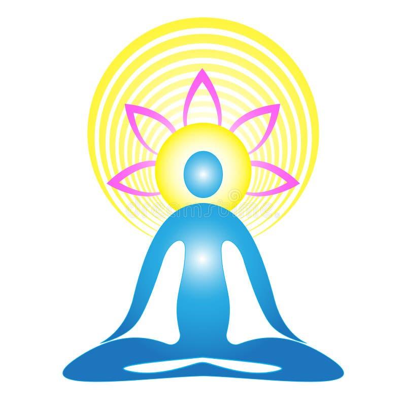 Salud de la meditación de la yoga para la paz y el logotipo sano de la vida stock de ilustración