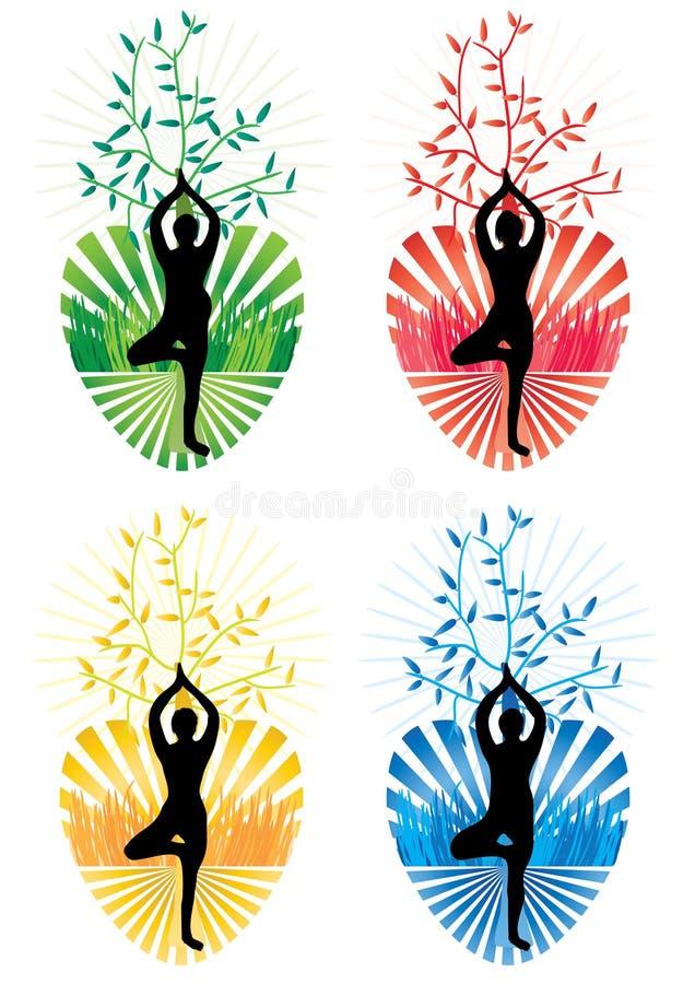 Salud del amor del árbol de la yoga ilustración del vector
