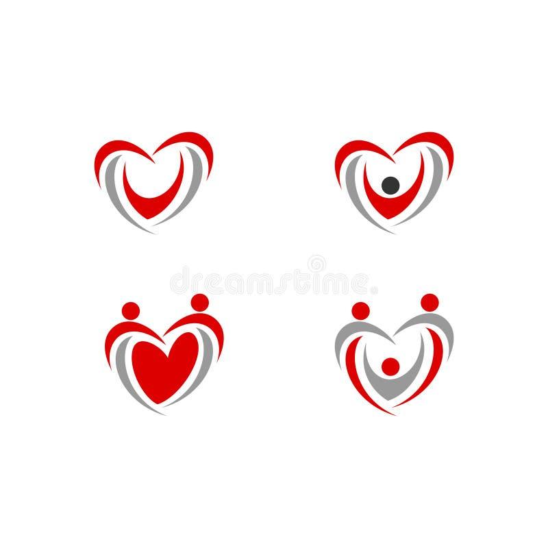 Salud del icono del vector del logotipo del amor de la gente del corazón libre illustration