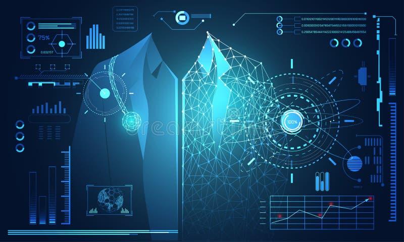Salud humana de los datos de la tecnología del concepto abstracto de la ciencia digital: stock de ilustración