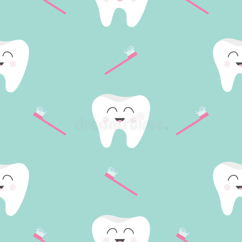 Salud inconsútil del diente del cepillo del modelo Carácter sonriente de la historieta divertida linda Higiene dental oral Cuidad stock de ilustración
