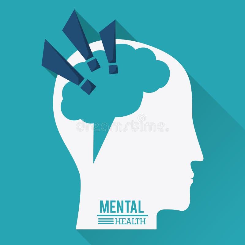 Salud mental, cabeza humana con el cerebro en la forma de la marca de exclamación stock de ilustración