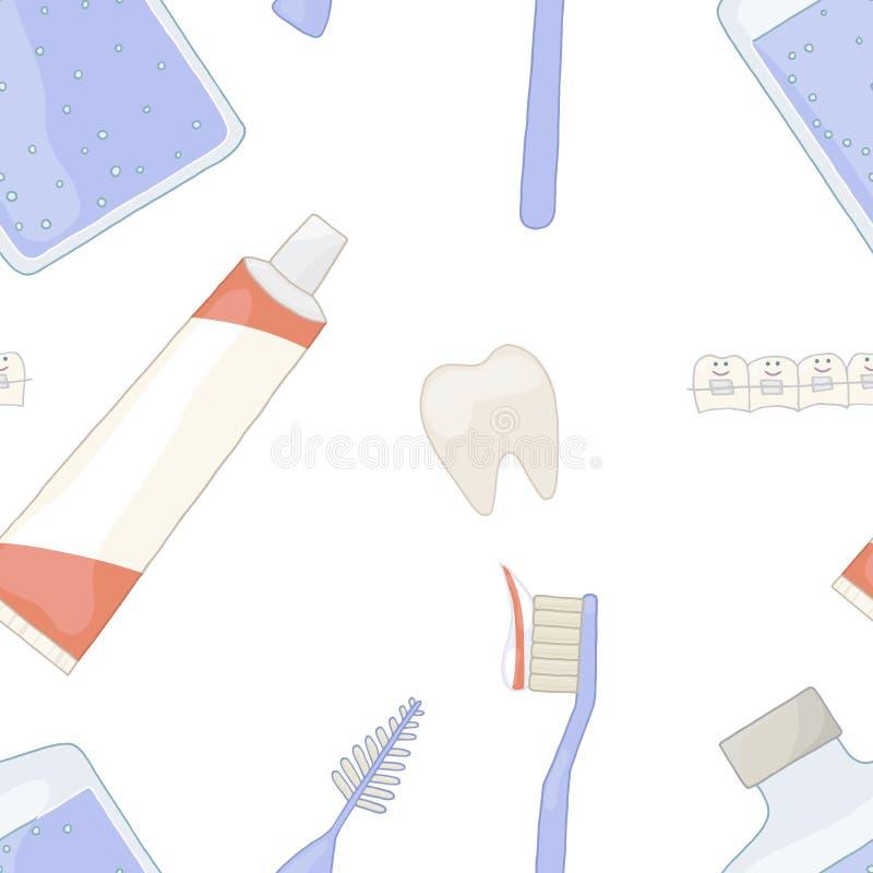 Salud oral con los apoyos Los dientes torcidos son rectos Fondo inconsútil del modelo Vecto de Orthodontics del orthodontist de l libre illustration