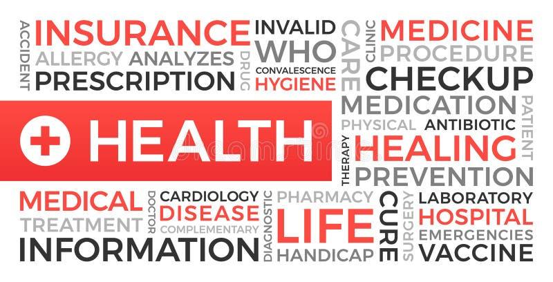 Salud, seguro, médico - nube de la palabra ilustración del vector