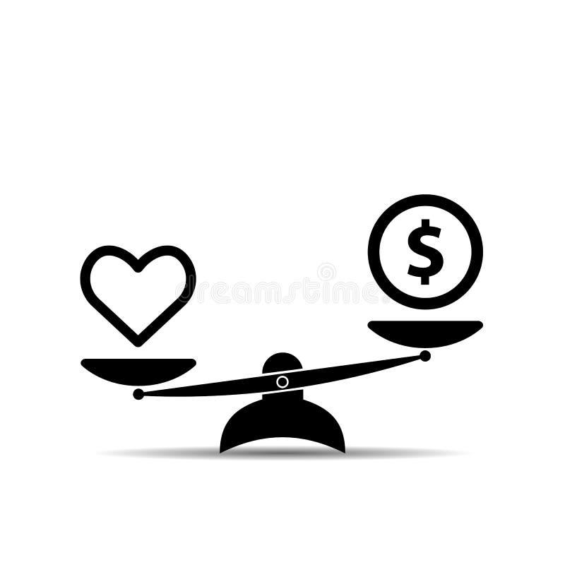Salud y dinero del corazón en icono de las escalas Balanza, concepto de la salud de la calidad en diseño plano Ilustración del ve stock de ilustración