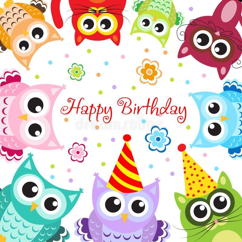 Saludando, animales del bebé del feliz cumpleaños stock de ilustración