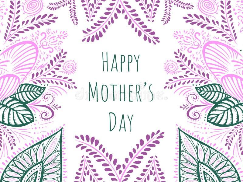 Saludando garabato florece día feliz del ` s de la madre de la tarjeta stock de ilustración