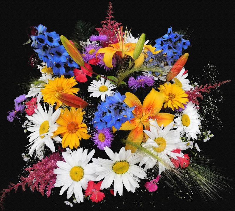 Saludando la tarjeta floral con el ramo de lirio, manzanillas, acianos azules aislados en el contexto negro ilustración del vector