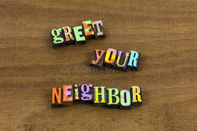 Salude la cita de saludo amistosa del hogar de la recepción del amigo del vecino fotografía de archivo libre de regalías