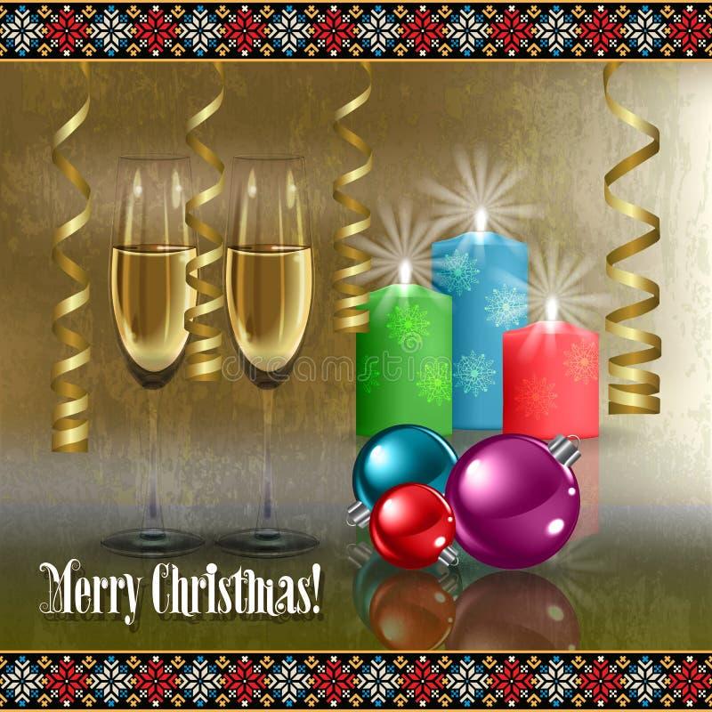 Saludo abstracto de la celebración con la decoración de la Navidad stock de ilustración