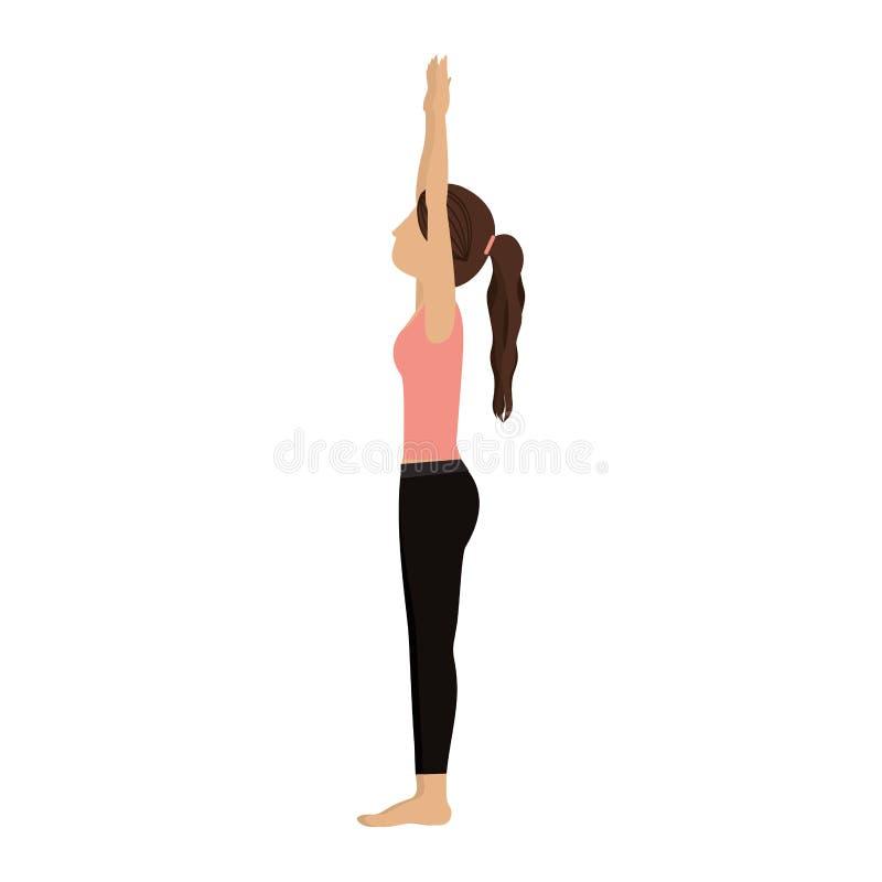 Saludo ascendente de la mujer colorida de la yoga stock de ilustración