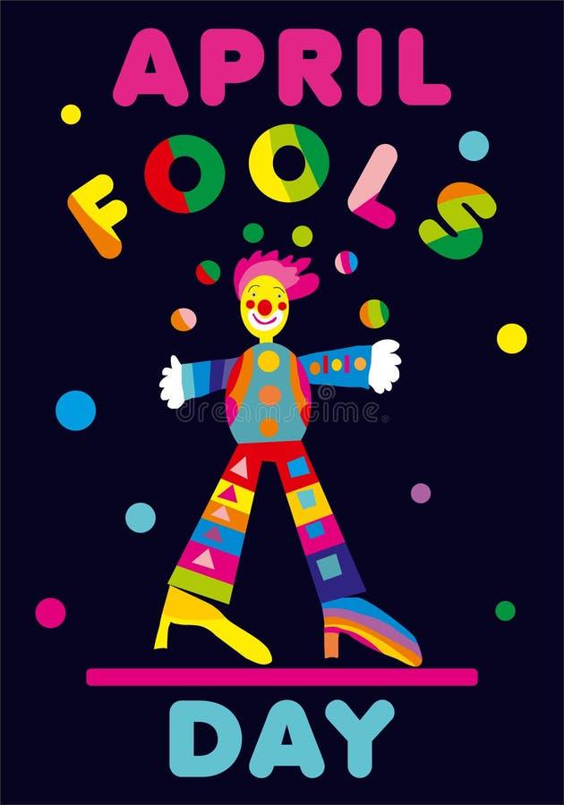 Saludo de April Fools Day con el juglar Perfeccione para la tarjeta, la bandera o el anuncio de felicitación el 1 de abril libre illustration