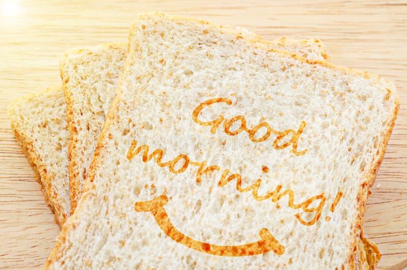 Saludo de la buena mañana en el trigo candeal tostado fotografía de archivo