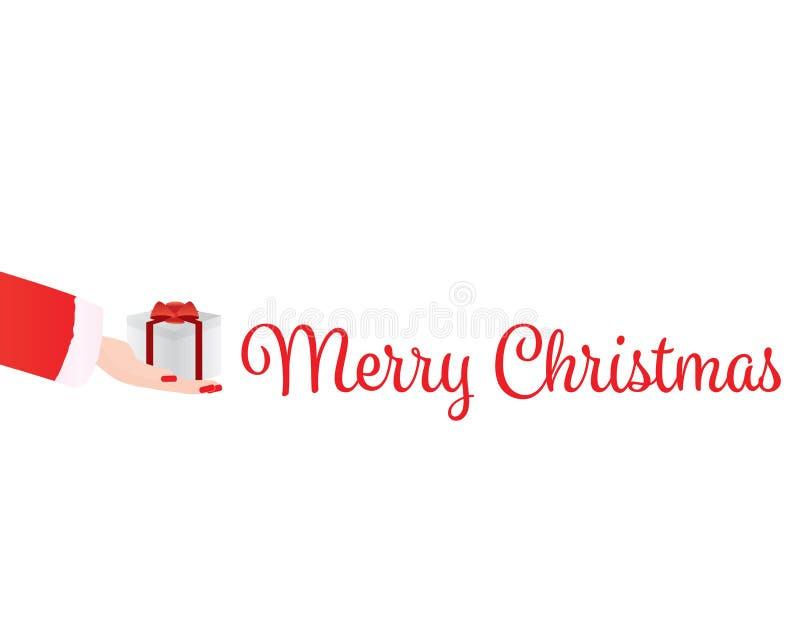 Saludo de la Feliz Navidad - mano de la mujer stock de ilustración
