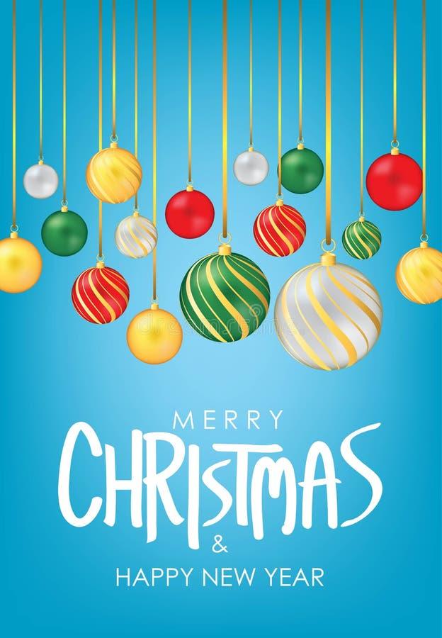 Saludo de la Feliz Navidad y de la Feliz Año Nuevo Las bolas de la Navidad en vectores azules del fondo diseñan Cartel, tarjeta,  ilustración del vector