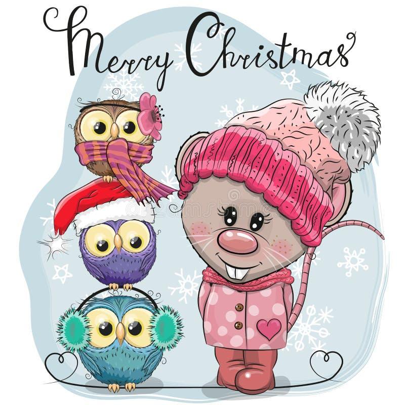 Saludo de la rata linda de la tarjeta de Navidad y de tres búhos ilustración del vector