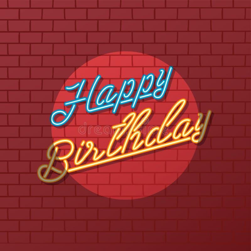 Saludo de la señal de neón del feliz cumpleaños ilustración del vector