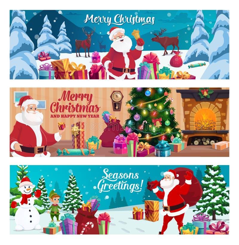 Saludo de las vacaciones de invierno, de la Navidad y del Año Nuevo stock de ilustración