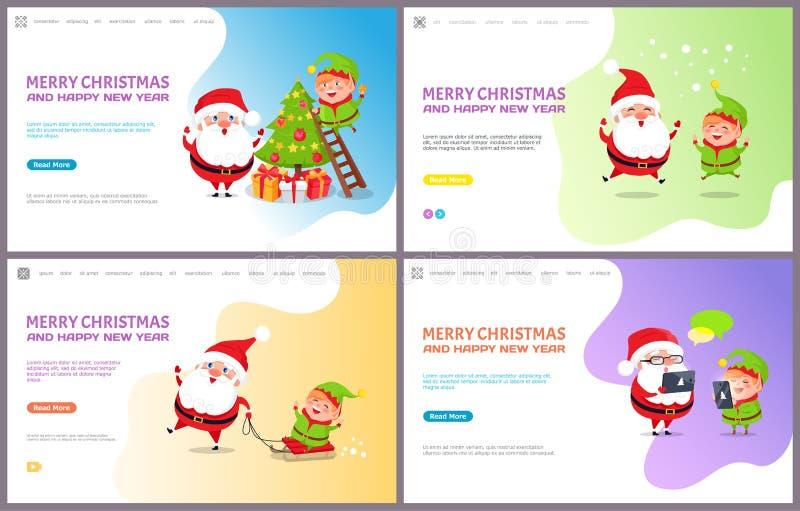 Saludo de Major Card con el árbol de navidad y Papá Noel libre illustration