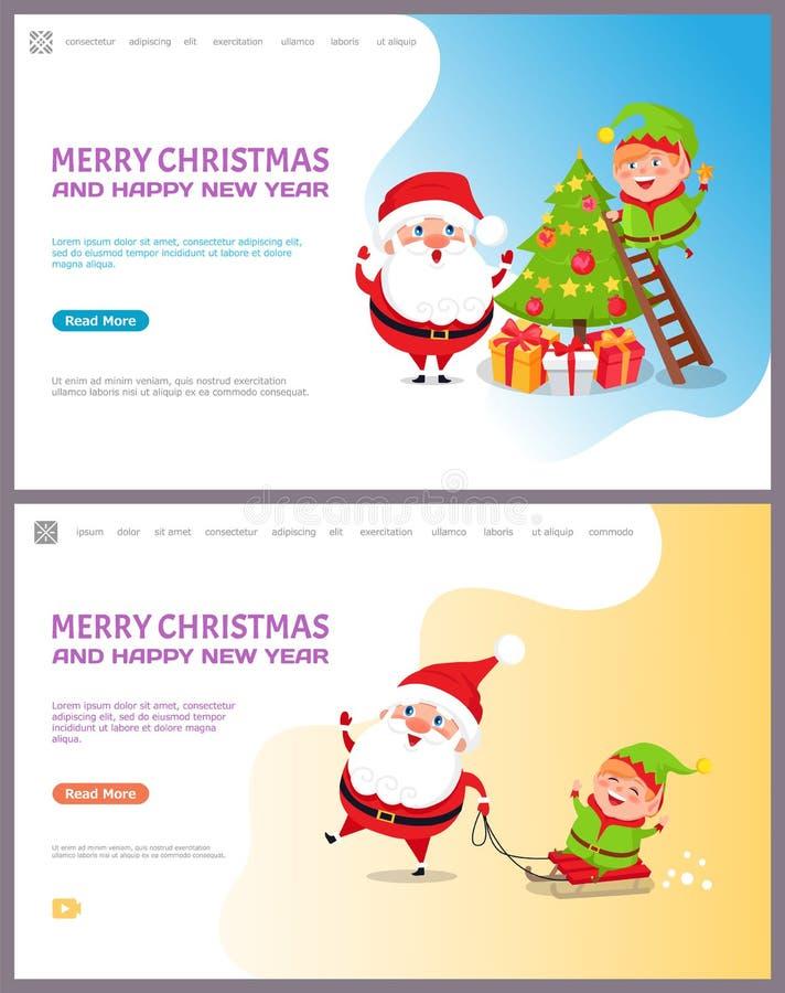 Saludo de Major Card con el árbol de navidad y Papá Noel stock de ilustración