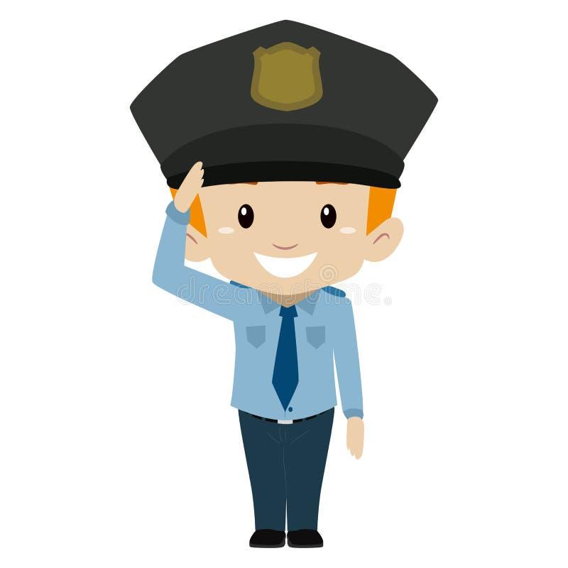 Saludo de mano del muchacho del policía stock de ilustración