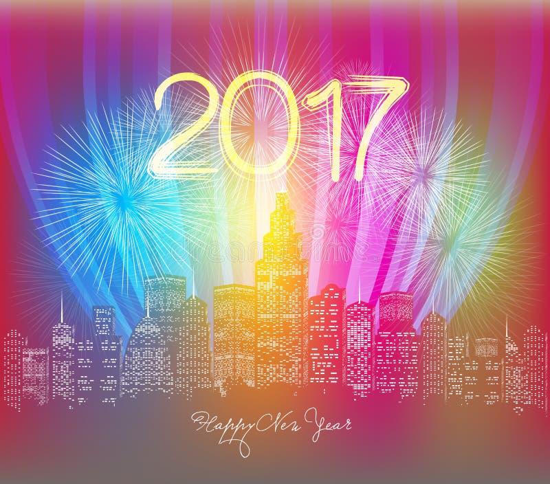 Saludo de neón de la Feliz Año Nuevo Fuegos artificiales en la noche de la ciudad stock de ilustración