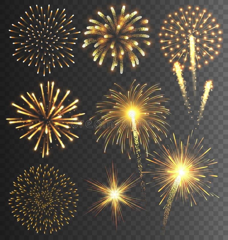 Saludo de oro del fuego artificial estallado en fondo transparente libre illustration