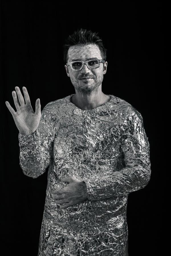 Saludo del astronauta imagenes de archivo