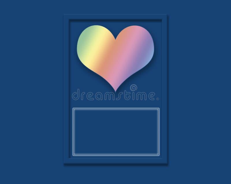 Saludo del corazón del arco iris en fondo azul con el espacio vacío foto de archivo libre de regalías